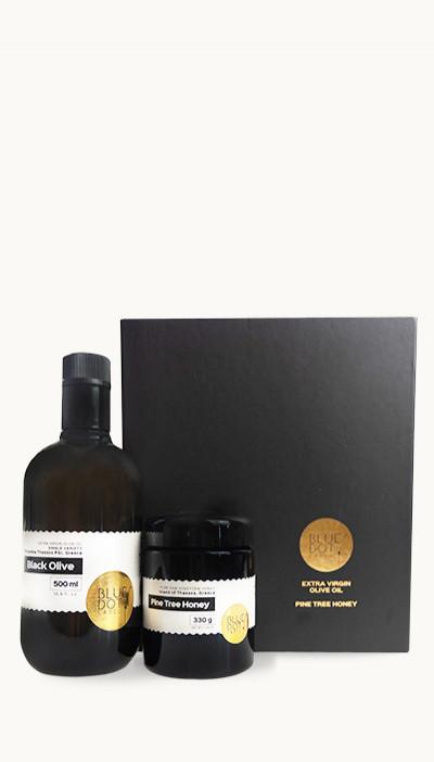 Olej olivový Black olive+píniový med, darček. sada 330g